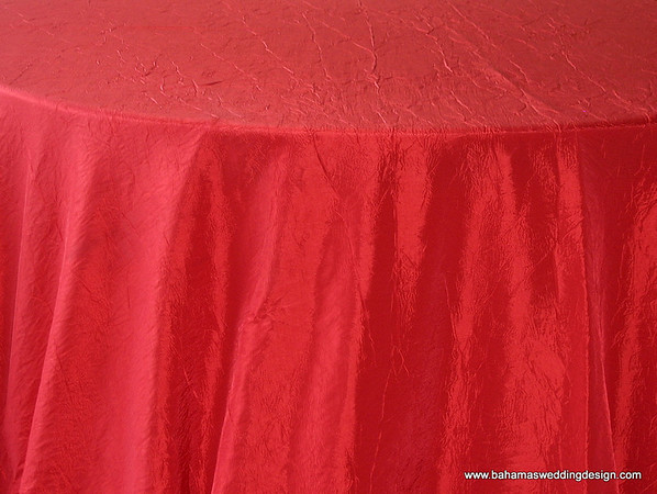 "Crushed Taffeta - Red Available Linens: 132"" Round"