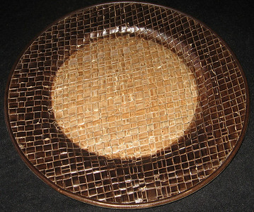 "13"" two tone rattan charger"