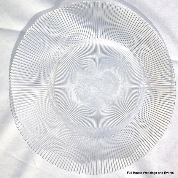 """14"""" Sunburst Clear Glass Charger CALL FOR PRICING & AVAILABILITY"""