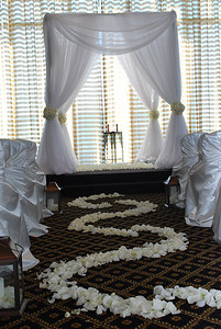 We have enough pipe & draping system for (2) chuppahs or several single backdrops.  We have white, ivory & champagne chiffon.  This is only one style for the chuppahs and many more can be done :)