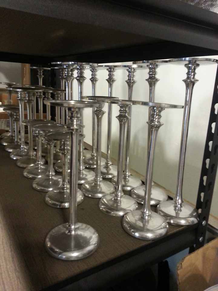 """I have (12)12"""",  (11)9.5"""",  (6)6"""" metal candle stands. These can be sprayed any color."""