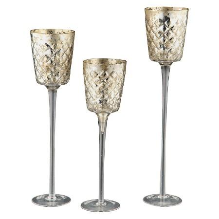 Diamond Star Votive Candleholder Trio Set in Gold & Silver