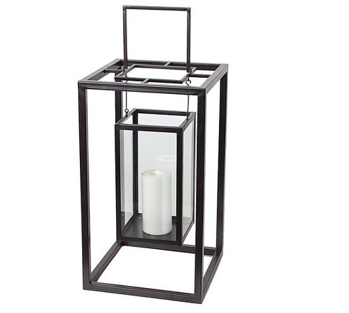 "Z-Gallery black lantern with pillar candle. I have (12) of these & they are 22"" high.  I have an additional (4) more but they do not have glass inserts for the hanging part."