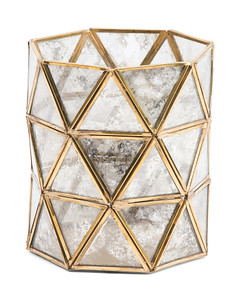 Antique Hurricane Glass Geometric Lantern 6.25 x 7