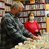 KRISTOPHER RADDER — BRATTLEBORO REFORMER<br /> Lance Kemp, of Brattleboro, Vt., looks through a collection of CDs at Turn It Up, on Main Street, in Brattleboro, on Monday, May 18, 2020.