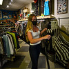 KRISTOPHER RADDER — BRATTLEBORO REFORMER<br /> Emma Urbaska, an employee at Boomerang, on Elliot Street, in Brattleboro, Vt., steam cleans a shirt when opening for the first time on Monday, May 18, 2020, after being closed because of the COVID-19 pandemic.