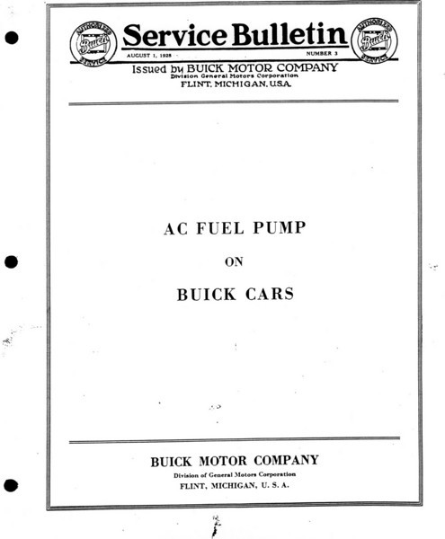 Fuel Pump Bulletin (No. 3 - Aug. 1/28) - Cover