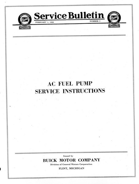 Fuel Pump Service Bulletin (No. 7 - Feb. 1/30) - Cover  (Note:  No page 2 in Bulletin)