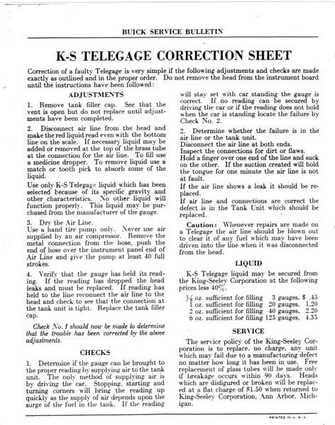 K-S Telegage / Gas gauge repair instructions - Pg. 4