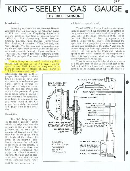 K-S gas gauge service / repair
