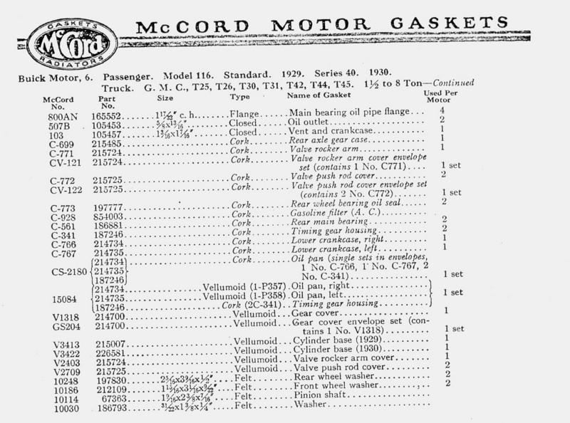 McCord gasket information