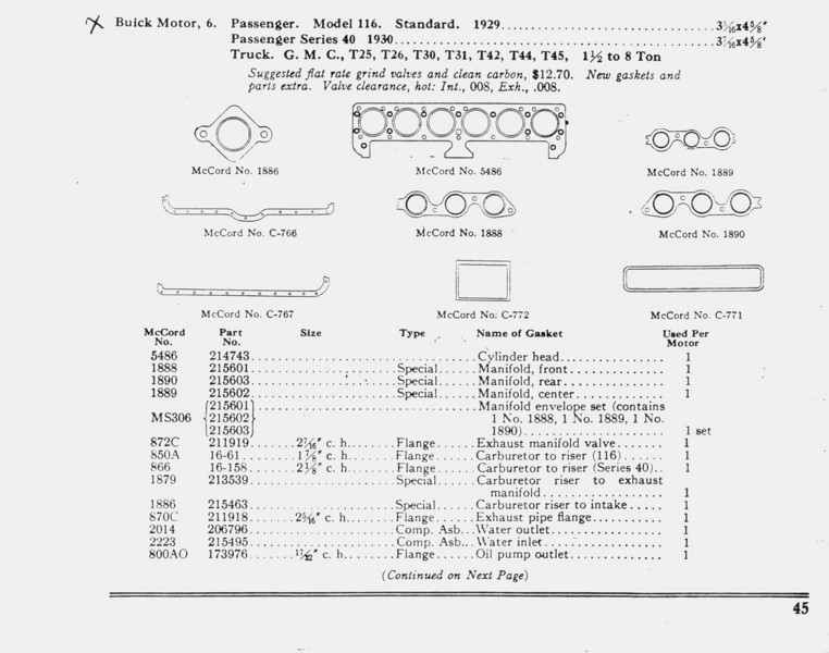 McCord gasket information