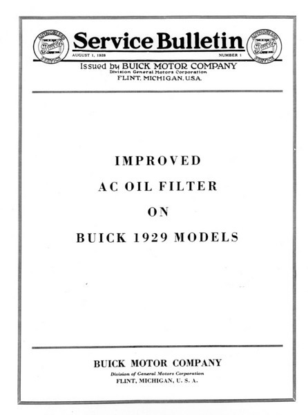 Oil Filter Service Bulletin (No. 1 - Aug. 1 / 28) - Cover