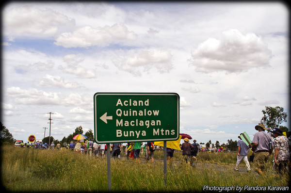 The march midway to the Acland coal dump.