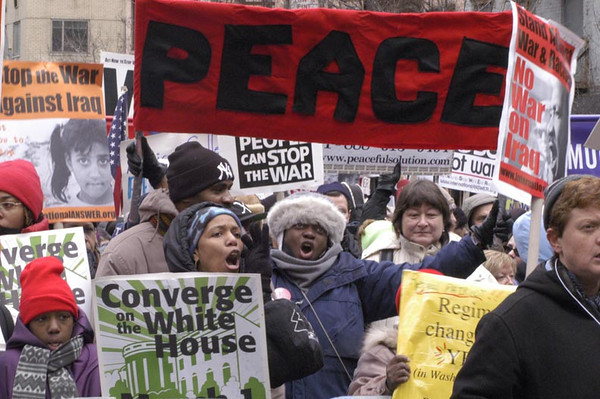 Anti-war demonstration near United Nations in New York City - February 15, 2003