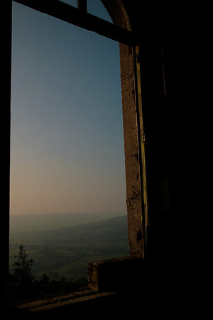 "Looking out from to the top of ""The Pepperpot"" in Brown's Folly near Bathford"