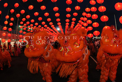 Lion Dance and Red lantern lining up for the Chinese New Year at Singapore Marina Bay Front 2009