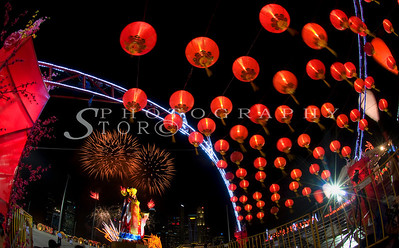 Red lantern lining up for the Chinese New Year at Singapore Marina Bay Front 2011. Ushering in the Lunar New Year