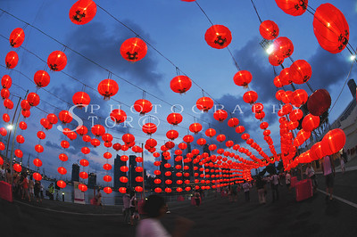 Red lantern lining up for the Chinese New Year at Singapore Marina Bay Front 2009