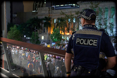 Police protect anti-gay prayer group from peaceful protestors below. Protest in Brisbane against homophobia. See more pictures taken at this event and hear vox pops here