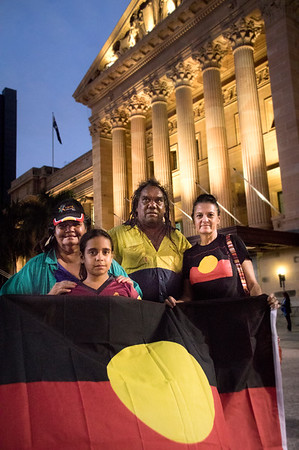 Wayne Coco Wharton with cousin Annette Simpson<br /> Brisbane says no to the forced closure of Aboriginal communities, protest 27.3.15