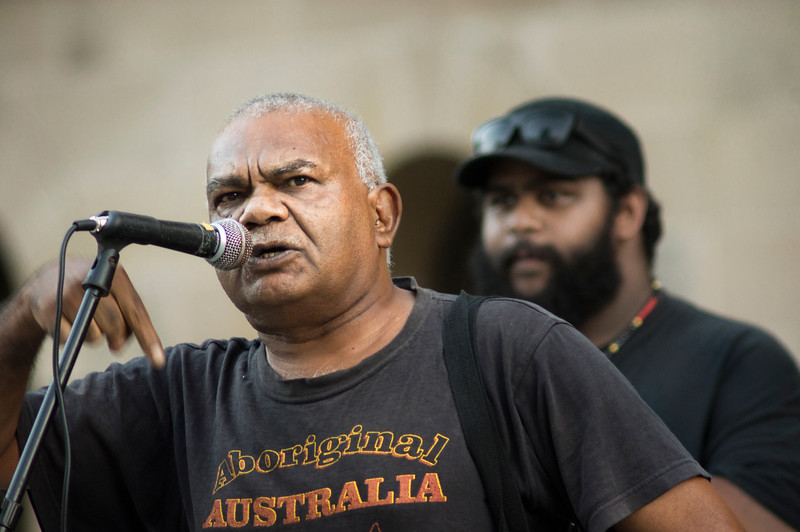 Two generations of activists - Lionel Fogarty & Bogaine Spearim<br /> Brisbane says no to the forced closure of Aboriginal communities, protest 27.3.15