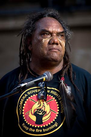 Speaker: Wayne Coco Wharton<br /> Brisbane says no to the forced closure of Aboriginal communities, protest 2.5.15