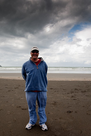 Jeremy Cassell on the beach in Pembrokeshire