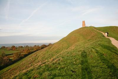 Looking up the hill to Glastonbury Tor on an autumn afternoon
