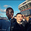 Momo Diame has his picture taken with a fan