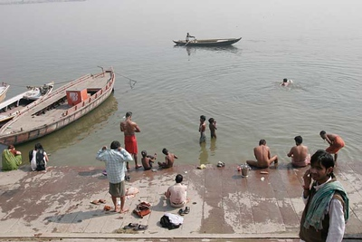 Morning spiritual bath in the Ganga river, Benares, Varanasi, India