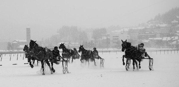 Hochkarätigen Rennsport mit edlen Pferden auf dem gefrorenen See von St. Moritz.