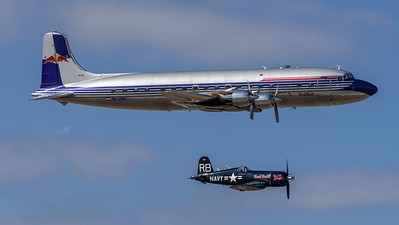 Flying Bulls / Douglas DC-6B & Chance-Vought F4U-4 Corsair / OE-LDM & OE-EAS / Flying Bulls Livery