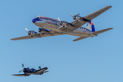 Flying Bulls / Douglas DC-6B & Chance-Vought F4U-4 Corsair / OE-LDM & OE-EAS / Flying Bulls Livery