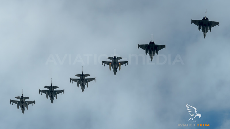 F-16 and Rafales on Arrival