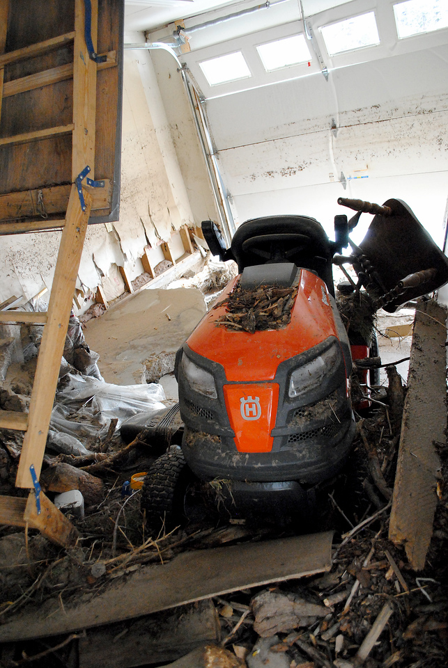 Inside Patrick Losee's garage at his home near Glen Haven Sunday Nov. 24, 2013.  (Photo by Lilia Munoz/ Loveland Reporter-Herald)