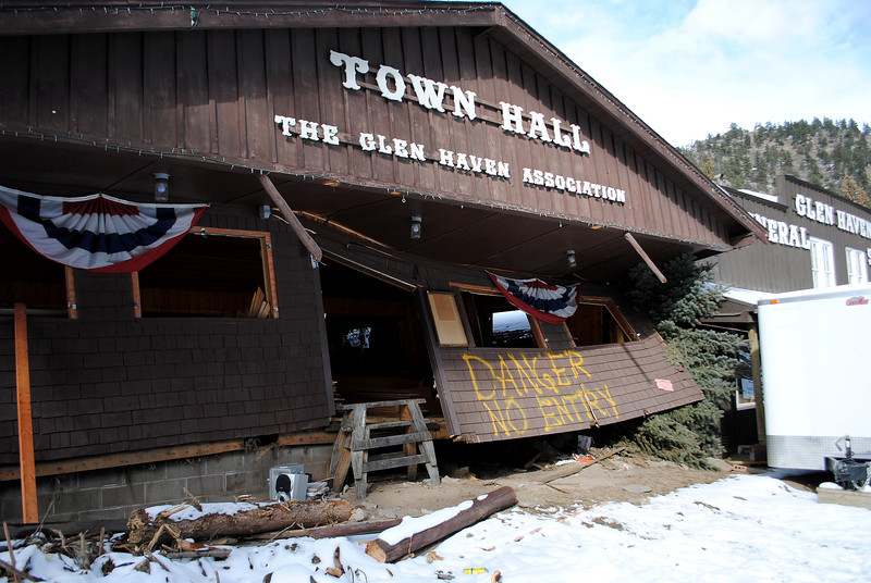 Town Hall destroyed by the flood in Glen Haven Sunday Nov. 24, 2013.  (Photo by Lilia Munoz/ Loveland Reporter-Herald)