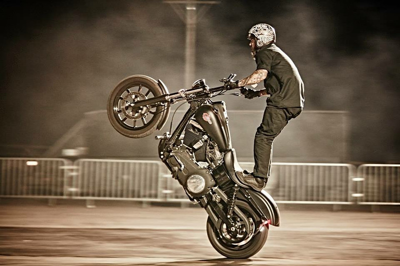 Erick Rocks performs a trick on a Harley-Davidson motorcycle during a Busted Knuckles stunt tour. He and owner Tony Jones will show off the stuff they can do on Harleys at Thunder in the Rockies Sept. 4-7.