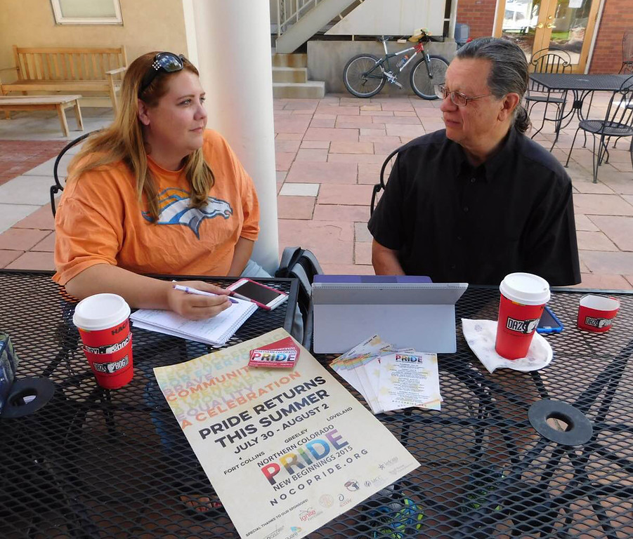 Kimberly Chambers, left, and John Case, discuss plans at a Daz Bog coffee shop for the upcoming Northern Colorado Pride event in Fort Collins. Chambers is the coordinator of the event. (Submitted photo, Matthew Angelo)