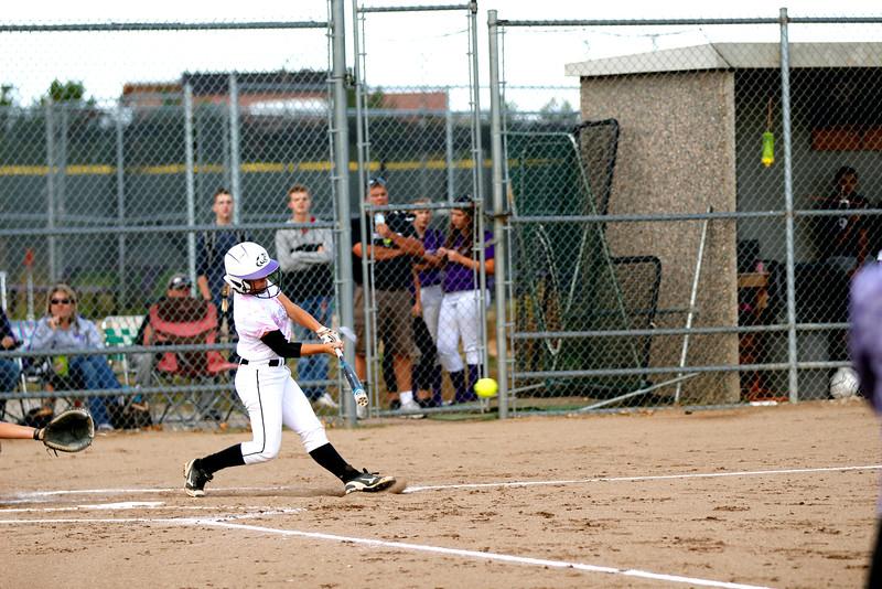 Catcher Kaley Barker at bat against Thompson Valley. (Photo by Matthew Gaston/ Loveland Reporter- Herald)