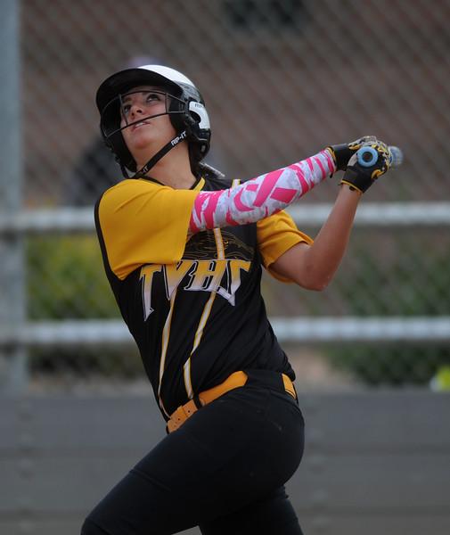 Allie Mason, senior at Thompson Valley, bats in the third inning against Boulder High on Saturday, Oct. 3, 2015 in Loveland. (Photo by Trevor L Davis/Loveland Reporter-Herald)