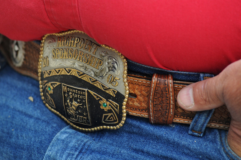 Jeff Clinton of Loveland wears his belt buckle to honor his son Nikolaus.