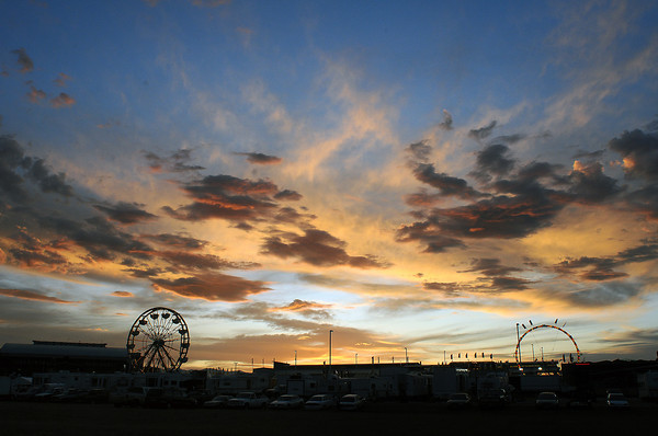 The sun sets on the Larimer County Rodeo on Tuesday at The Ranch.