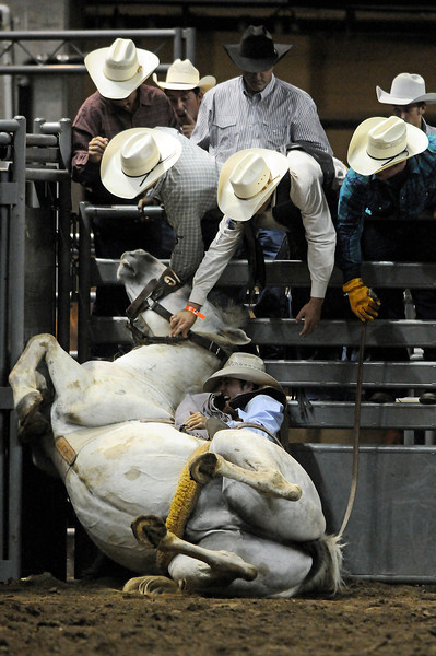 Rodeo hands help saddle bronc rider Townsend Prince after the horse he was on fell on top of him after it reared up in the chute on Tuesday at the PRCA Rodeo at the Dale Wiest Arena at The Ranch. Prince was granted the option of a re-ride.