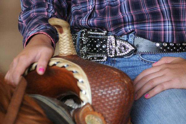 Danielle Seat, 15, of Berthoud got her belt buckle for her birthday.