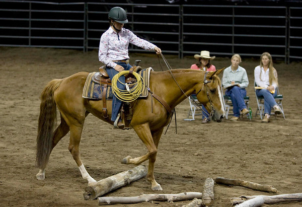 Olivia Klinzmann, 15, from La Porte, rides her horse Lulu during the Working Ranch Horse competition.