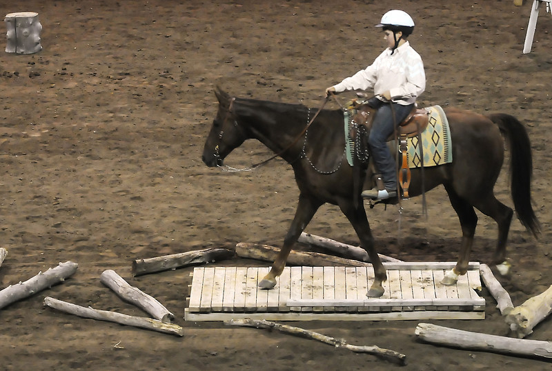 Wellington resident Cody Moncrief, 13, negotiates a bridge obstacle on his horse named Sky during the working ranch horse trailcompetition Tuesday at the Budweiser Events Center.