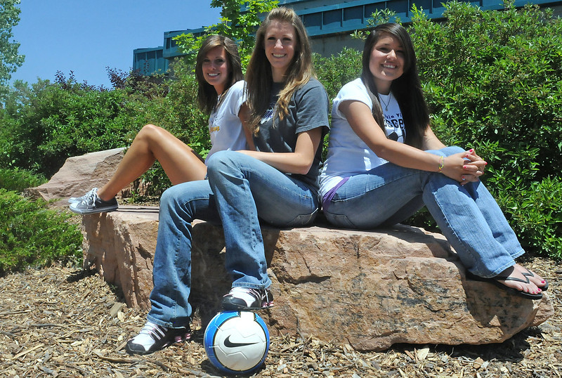 Members of the 2010 All-area Soccer Team include Thompson Valley High School's Tanna Chandler, left, and Mountian View's Erin Stumbaugh and Allie Brown.