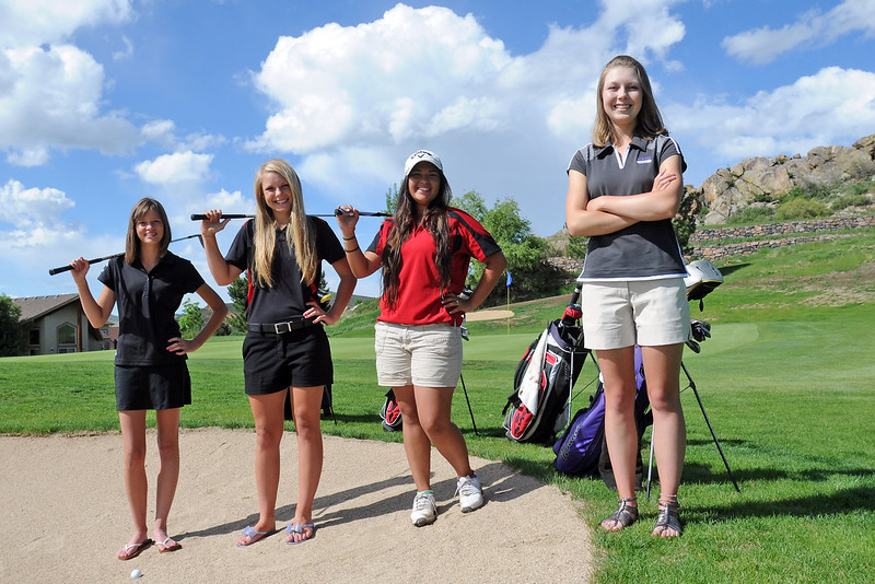 Members of the all-area golf include, from left, Loveland High School's Aubrey Doran, Kelsey Petersen and Raquell Castillo and golfer-of-the-year Kelsey Greiner from Mountain View.