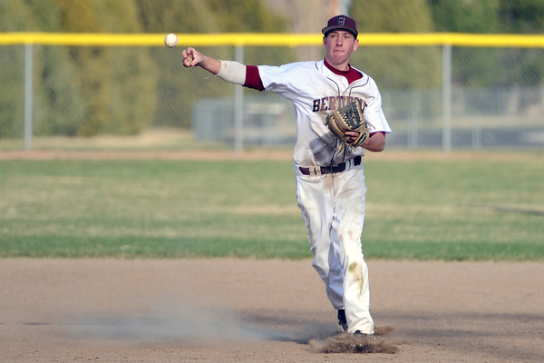 Berthoud High School shortstop Luke Whitfield throws to first base after fielding the ball in the top of the seventh inning of a game against Resurrection Christian on Thursday, April 5, 2012 at Sommers Field.